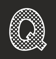 Q alphabet letter with white polka dots on black vector image vector image