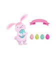 rabbit with easter egg decorated eggs set vector image vector image