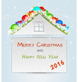 roof with many christmas objects vector image vector image