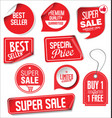 sale stickers and tags red design 02 vector image vector image
