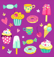 set of drawings of sweets and decorative el vector image