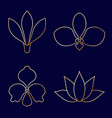 set of flower line art on blue background vector image