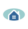 simple oval blue home logo vector image