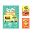street food festival poster fastfood outdoor event vector image