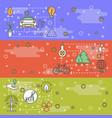 thin line art ecology web banner template vector image vector image