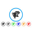 trophy cups rounded icon vector image
