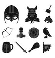 vikings and attributes black icons in set vector image