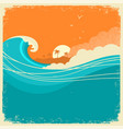 vintage seascape with island on old paper poster vector image vector image