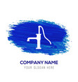 water pump icon - blue watercolor background vector image