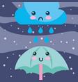 weather rain drops cloud and umbrella cartoon vector image