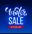 winter sale inscription on blue background banner vector image