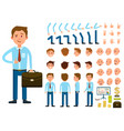 businessman person character creation set vector image