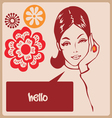 Woman retro comics style post card vector image