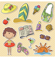 happy girl with summer vacation objects vector image