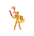 armed tribal male warrior in leopard hide and vector image vector image