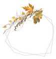 autumn frame with branch leaves and grass vector image