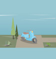 blue moped stands on nature vector image