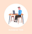 businessman sitting at workplace desk business man vector image vector image