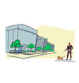 businessman walking with dog modern city street vector image vector image
