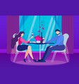 cartoon man woman couple romantic evening table vector image vector image