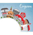 Cayenne skyline with color buildings blue sky and