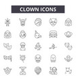 clown line icons signs set outline vector image vector image