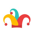 colored jester hat icon flat style isolated on vector image