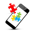 colorful puzzle pieces on smartphone mobile phone vector image