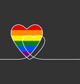 continuous line drawing heart with lgbt gay vector image