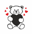 cute teddy bear holding red heart isolated vector image vector image
