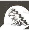 dinosaur caught the thief in the night city vector image vector image