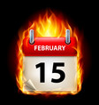 fifteenth february in calendar burning icon on vector image vector image