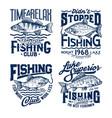 fishing sport t-shirt print ocean fisher club tee vector image vector image