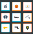 flat icons walkie-talkie lock armored car and vector image vector image