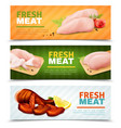 fresh chicken meat horizontal banners vector image