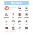 furniture - line design icons set vector image