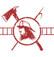 grunge emblem fire department with fireman vector image