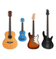 guitars realistic musical instruments sound vector image