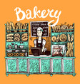 hand drawn sketch interior of bakery shop vector image vector image