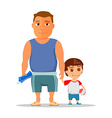 Happy dad and son after gym vector image vector image