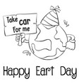 happy earth day with world hand draw vector image vector image