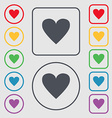 Heart sign icon Love symbol Symbols on the Round vector image vector image