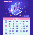 isometric month april from set calendar of 2019 vector image