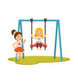 kids girls on swings cartoon characters vector image vector image
