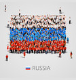 large group of people in the russia flag shape vector image vector image