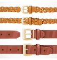 Leather belts with buckles buttoned and unbuttoned vector image
