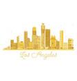 los angeles city skyline golden silhouette