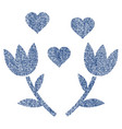 lovely tulip flowers fabric textured icon vector image