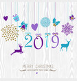 merry christmas and happy new year hang retro 2019 vector image