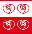 photography logo camera icon with heart and vector image vector image